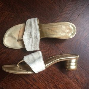 RARE Kate Spade Gold Heeled Sandals w/ Calf Hair